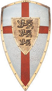 Richard the Lionheart heraldic shield textured silver with red cross, bronzed steel embossed edging and heraldic shield in foreground