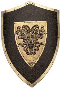 Wood shield with the crest of Charles V and edges in bronzed steel embossing, 25 inches tall, 17.75 inches wide, weighs 4 lbs., 13 ozs.