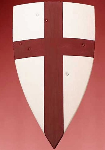 Crusader shield of curved wood, covered in white canvas emblazoned with a red Crusader's Cross.  Leather arm and shoulder straps on back.