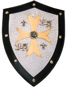 Templar Shield with Bronzed Steel Embossing on central cross and other adornments.