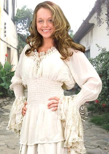 Port Royal blouse, ivory with flowing lace cuffs.