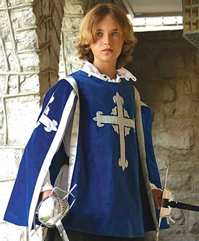 Boys Three Musketeer Tabard in blue cotton velvet with silver embroidered Three Musketeer cross on front and back.. One size fits all.