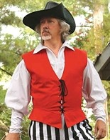 Lace-up pirate vest shown in red, also available in green and navy.