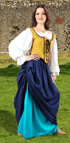 Double-layer tavern wench skirt in blue and turqouise