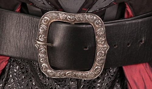Closeup viewof Hessian Belt, faux black snakeskin with antiqued nickel buckle and tip