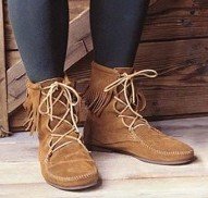 Low boot in tan suede with fringed tops.  Also available without fringe.