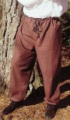 Renaissance Pants with drawstring waist, in brown.