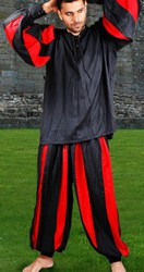 European Medieval Pants in black and red stripes, also availablein black and white stripe.