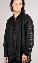 This great pirate shirt has drawstrings and lacing the full length of the front and the sleeves. Black only.