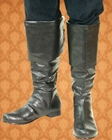 This is a great boot for a pirate or a cavalier.  Soft synthetic leather in black.