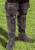 Soft black leather boot with a large fold-over cuff to wear up or down.  All rubber, non-slip sole and heel.