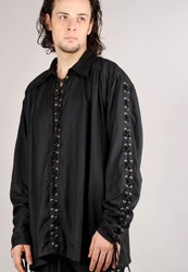 Bully Hayes shirt in black with grommets and lacing the full length of the sleeves and shirt front.