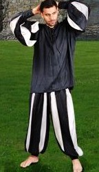 European Medieval Pants in black and white stripes, also availablein black and red stripe.