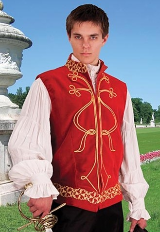 Tortuga vest in red velvet with gold brocade trim.  Also available in black.