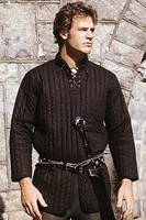 Thickly padded poly-cotton gambeson, black only.