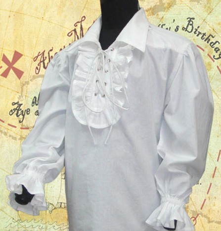 Capt. Kinnit shirt in white cotton, frill at neck and wrists