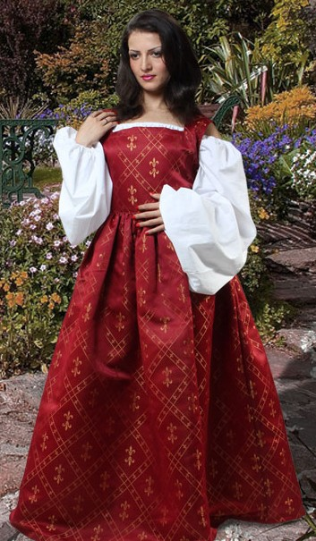 Fleur-de-Lis Overdress in red, with white Celtic-style chemise.