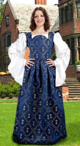Fleur De Lis dress in blue with gold fleur-de-lis pattern.  White Celtic chemise has very long, full gathered sleeves with  metallic lace  edging on the gathers.