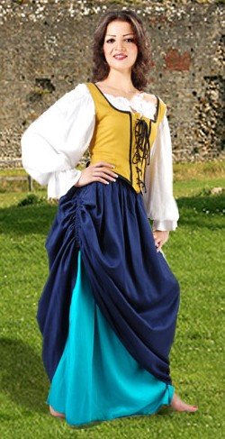 Tavern Wench Ensemble includes double skirt with choice of four contrasting color schemes, a white Classic short chemise, and a reversible bodice with six color choices.