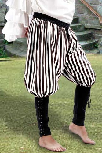 Bucaneer Pants in black and white stripes.  Also available in red and white and black and red stripes.
