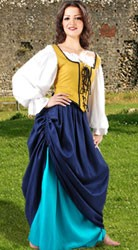 Tavern Wench 3-Piece Outfit - reversible wench decorated bodice, double-layer wench skirt and white Classic short chemise.
