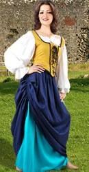Wench's Double Layer Skirt in contrasting colors - hike top skirt to show the one underneath!  Blue and  turquise shown,  3 other color combinations available.