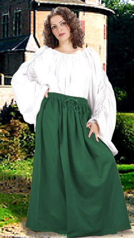 Cotton wench skirt in purple, available in five other colors, sizes to XXL