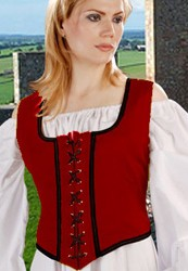 Reversible wench bodice in red with black trim, reverses to black with gold trim, five other colors available.
