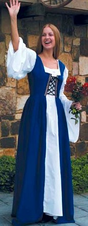 Fair Maiden Dress in Royal Blue - Bodice is boned in front for extra-strong and tight lacing, attached skirt is open in front to show off chemise.