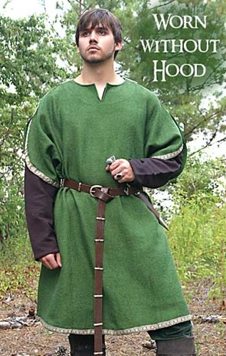 Huntingdon Archer's Tunic in forest green with brown Medieval trim, shown without the hood, and worn with Huntingdon undertunic.