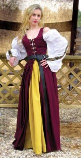 Irish overdress in burgundy shown with curry yellow skirt.