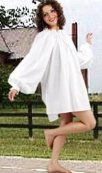 Thigh-length Classic Chemise in white cotton, one size fits most.