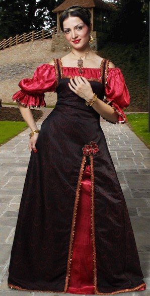 Renaissance Princess Dress, overdress in rich black brocade with gold lace trim, shown with Gloriana chemise