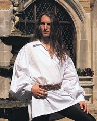 Early Renaissance Shirt in white has small ruffled collar around V-neck, small ruffle at elastic cuffs. Also available in black