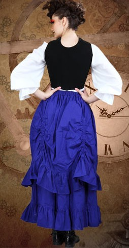 Tavern wench black faux leather bodice, back view
