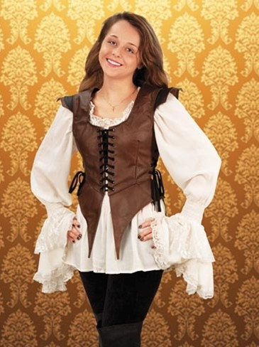 Leather bodice in brown with black accents, laces in front and on both sides for a custom fit.