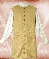 Long vest in gold metallic brocade, also available in silver.