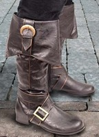 Swashbuckler leather-like boots, buckles on flap and instep, choice of black or brown