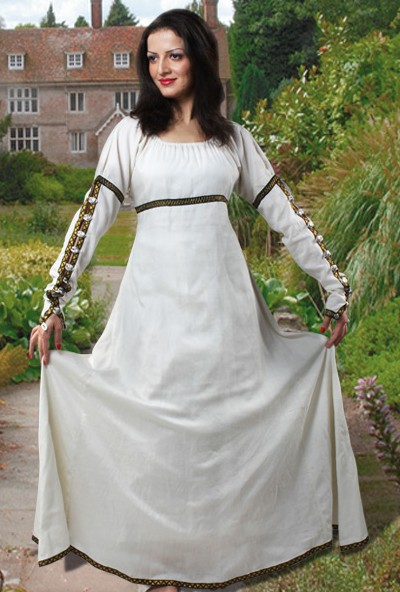 Forest Princess Dress in off-white natural flax linen, also available in soft green.