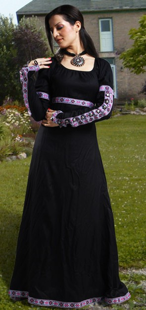 Medieval Gown in black, also available in dark green