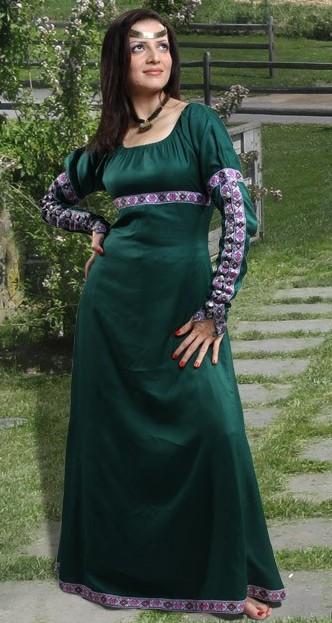 Medieval Gown in dark green, also available in black.