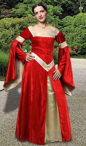 Lady of Leeds medieval gown in red velvet with gold brocade trim and front panel and double-layered sleeves