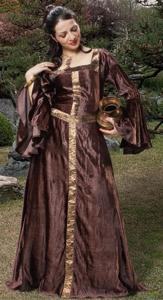 Medieval gown in rich brown velvet.