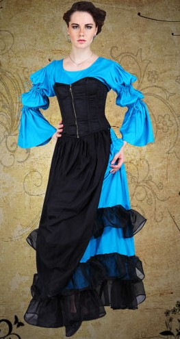 Lady of the Manor 4-pc Ensemble in black and electirc blue.