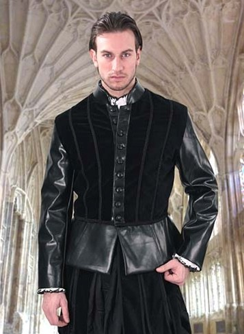 Black royal doublet in cotton velvet with black faux leather trim and sleeves.