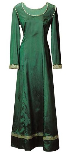 Emerald Dream Gown with gold trim on neck, sleeves and hem.