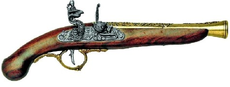 Early 1700s German Flintlock Pistol, simulated brass engraved barrel and trigger guard