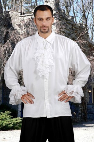 John Calles shirt in white, lace jabot and cuffs, button front, also available in black, sizes to XXXL and X-Tall