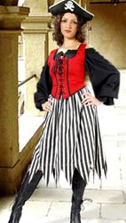 Striped pirate skirt with handkerchief hem--wear alone or over a longer skirt of contrasting color.  Shown in black and white, also available in red and white, black and red stripes.