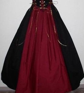 Panel skirt is black with color center panel, shown in black and burgundy, four other color choices available.